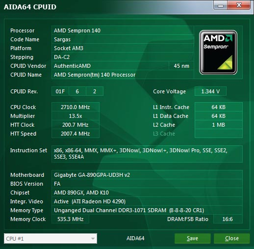 AIDA64 CPUID panel for AMD processors