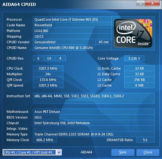AIDA64 CPUID panel for Intel processors